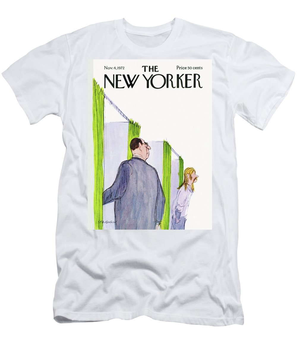 James Stevenson Jst Men's T-Shirt (Athletic Fit) featuring the painting New Yorker November 4th, 1972 by James Stevenson