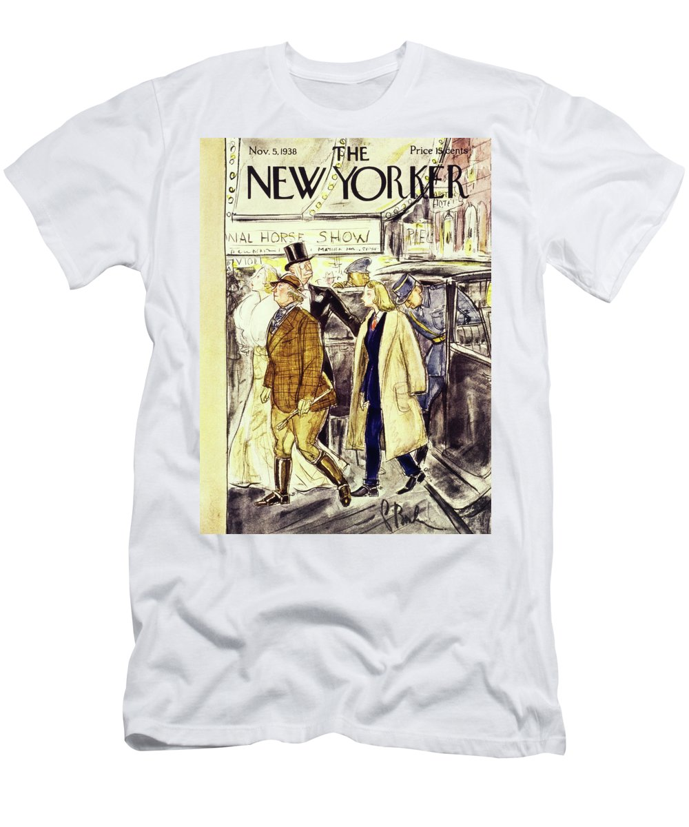 National Horse Show Men's T-Shirt (Athletic Fit) featuring the painting New Yorker November 5 1938 by Perry Barlow