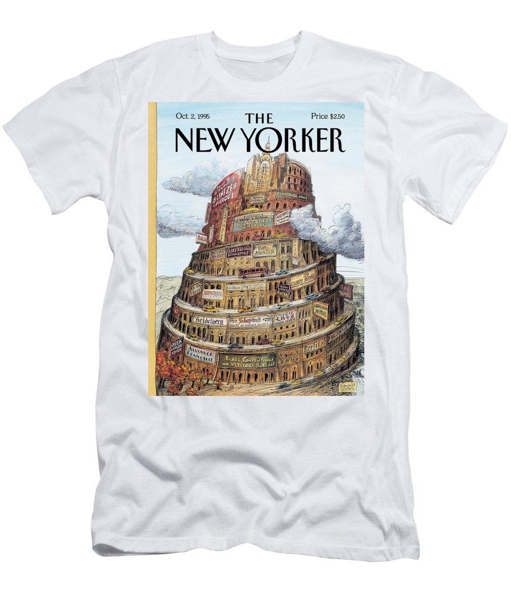 I Love Babel Men's T-Shirt (Athletic Fit) featuring the painting New Yorker October 2nd, 1995 by Edward Sorel