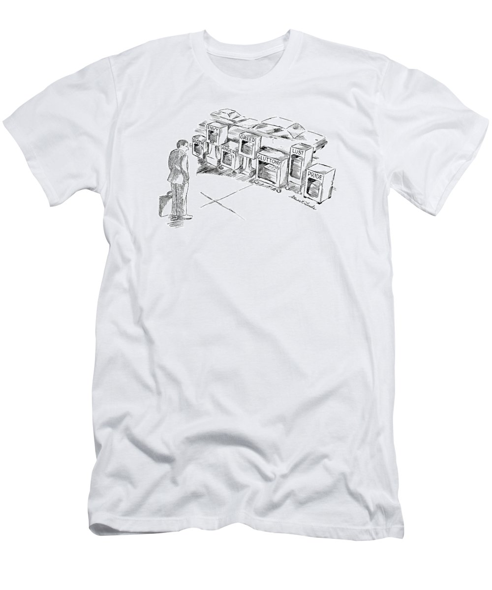 Newspapers T-Shirt featuring the drawing New Yorker September 15th, 1997 by Stuart Leeds