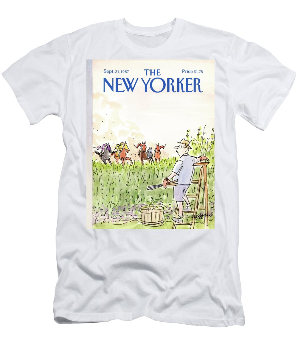 Nature T-Shirt featuring the painting New Yorker September 21st, 1987 by James Stevenson
