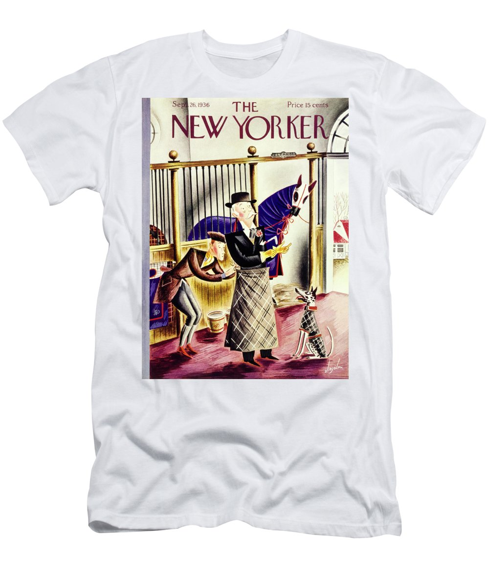 Animal Men's T-Shirt (Athletic Fit) featuring the painting New Yorker September 26 1936 by Constantin Alajalov