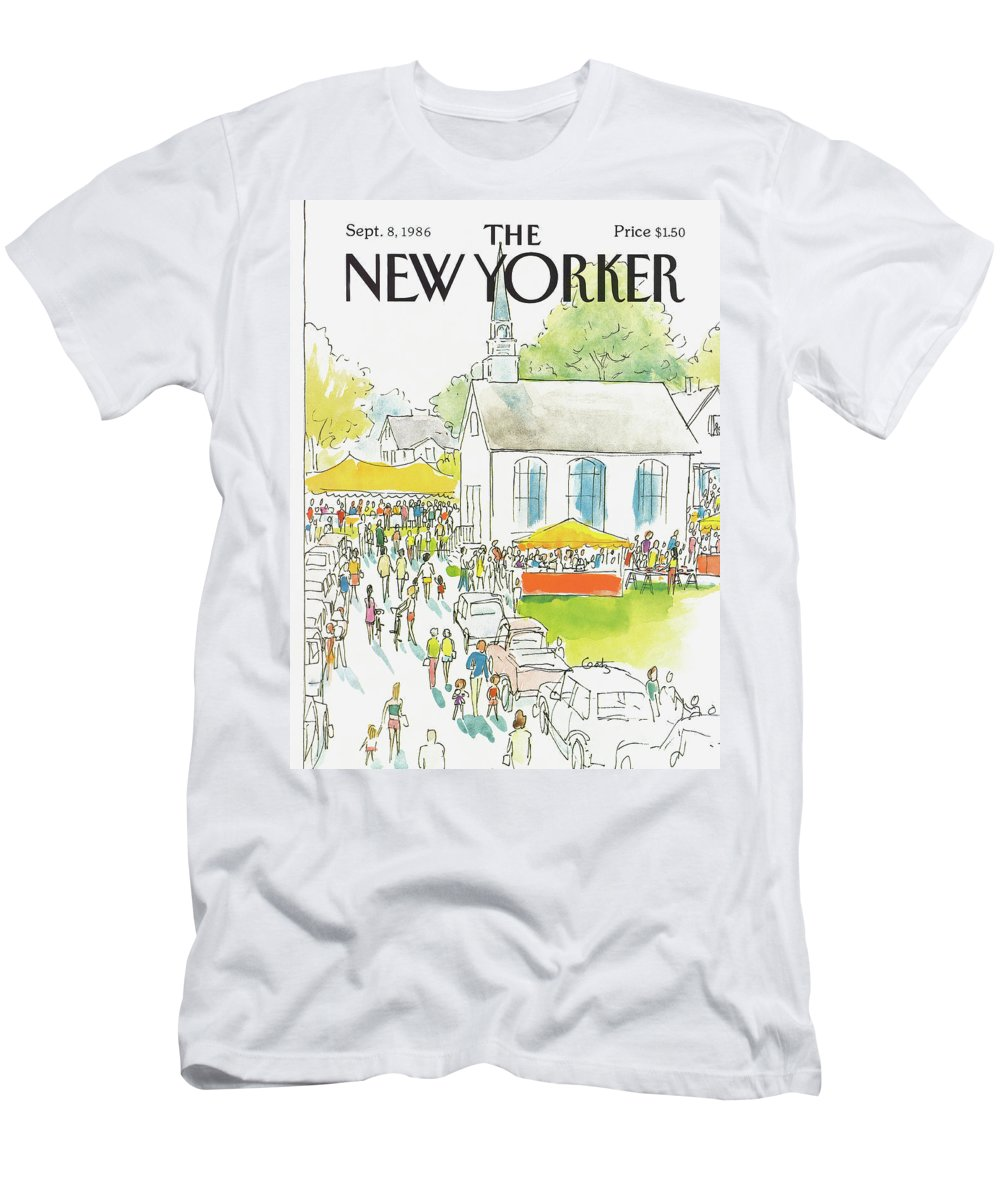 Autos T-Shirt featuring the painting New Yorker September 8th, 1986 by Arthur Getz