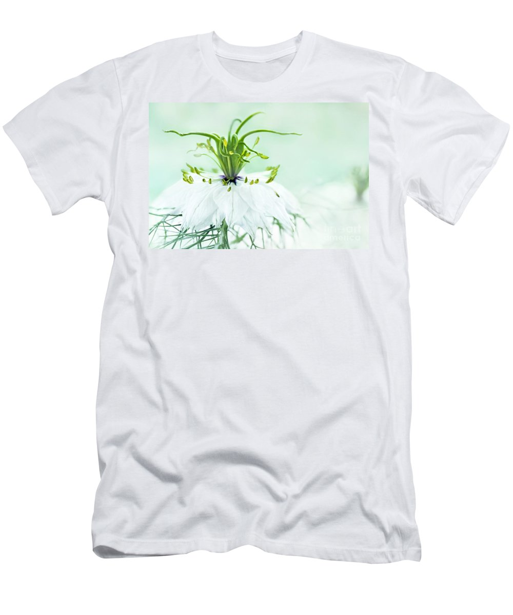 Nigella Damascena Double White Men's T-Shirt (Athletic Fit) featuring the photograph Nigella Damascena 'double White' by Onelia PGPhotography