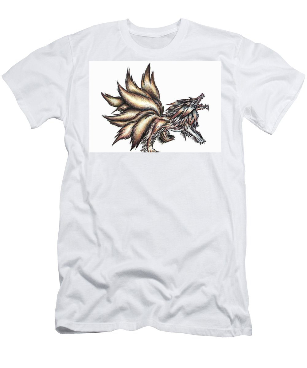 Wolf Men's T-Shirt (Athletic Fit) featuring the painting Nine Tails Wolf Demon by Shawn Dall