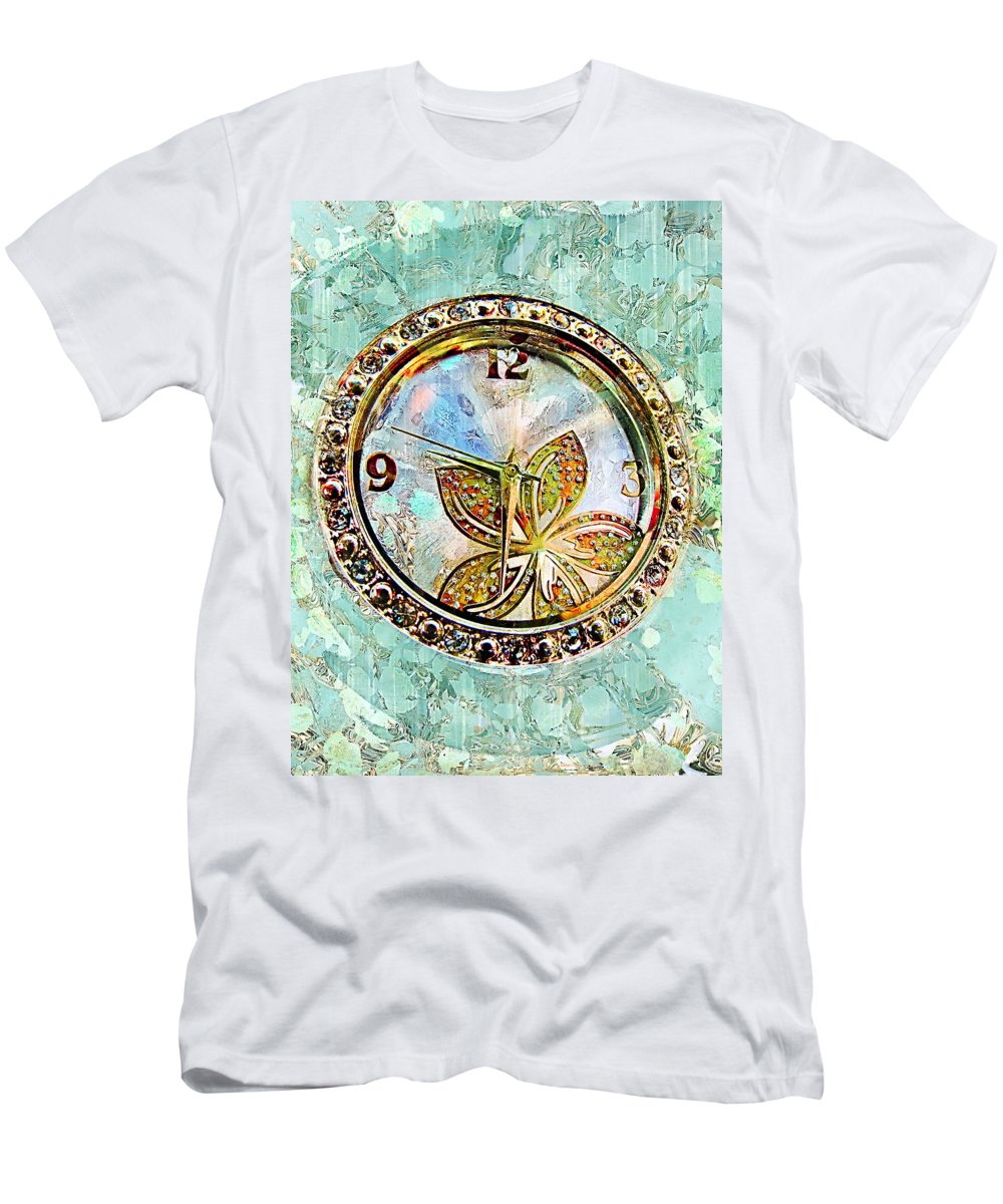 Clock Men's T-Shirt (Athletic Fit) featuring the photograph Nine Thirty Two Art by Debbie Portwood