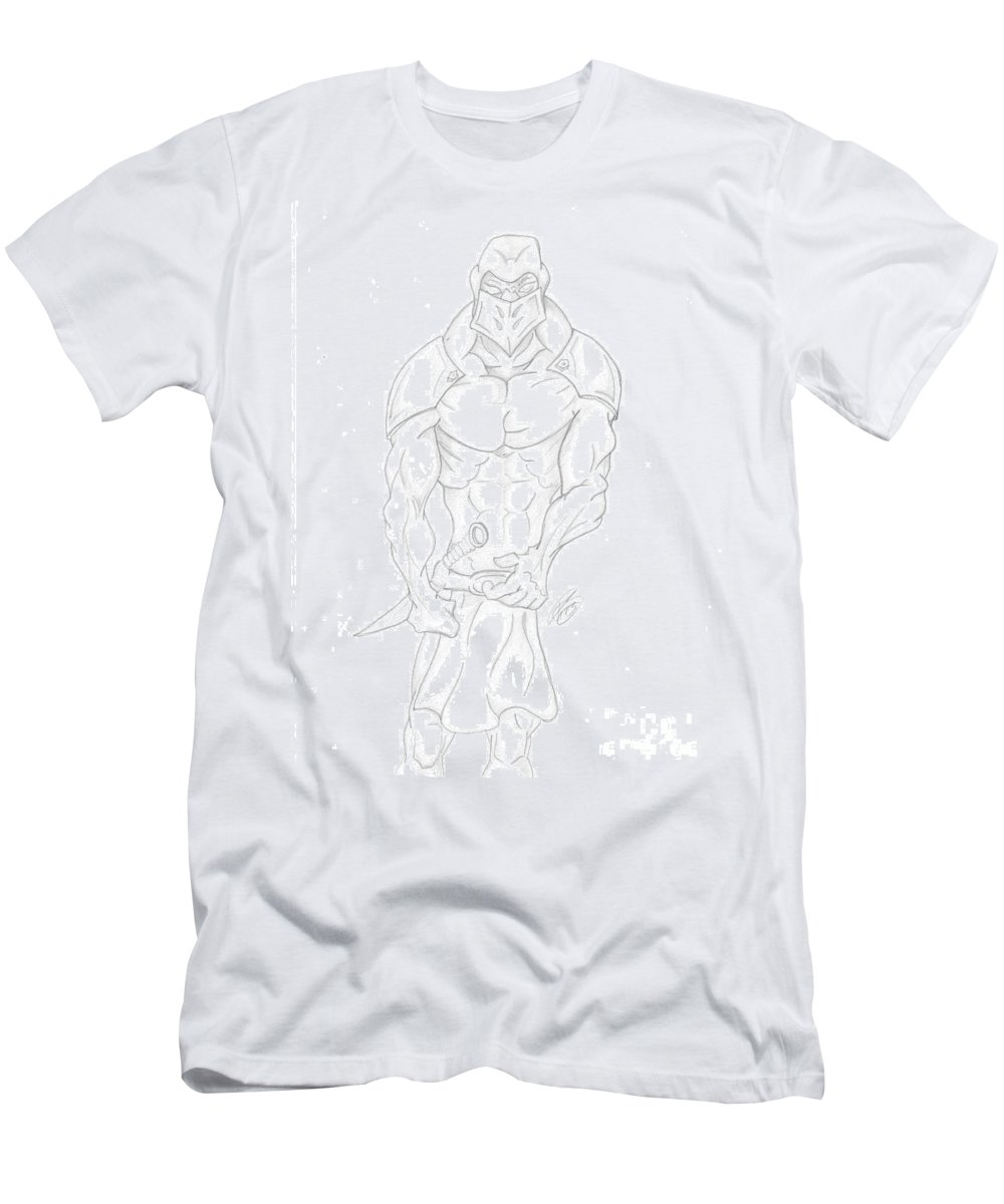 Drawing Men's T-Shirt (Athletic Fit) featuring the drawing Ninja Drawing By Ray by Minding My Visions by Adri and Ray
