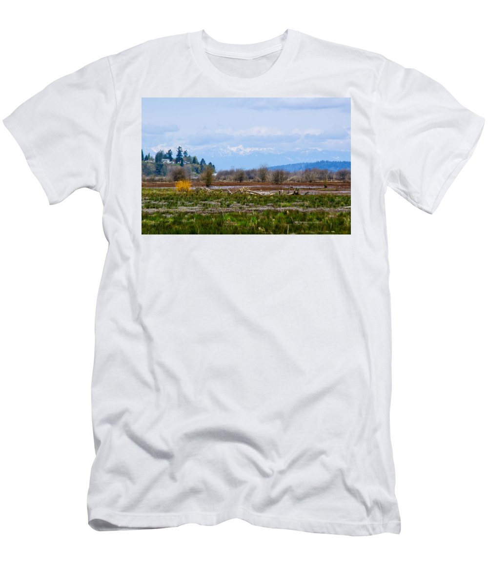 Nisqually National Wildlife Refuge Men's T-Shirt (Athletic Fit) featuring the photograph Nisqually Delta Of The Nisqually National Wildlife Refuge by Tikvah's Hope