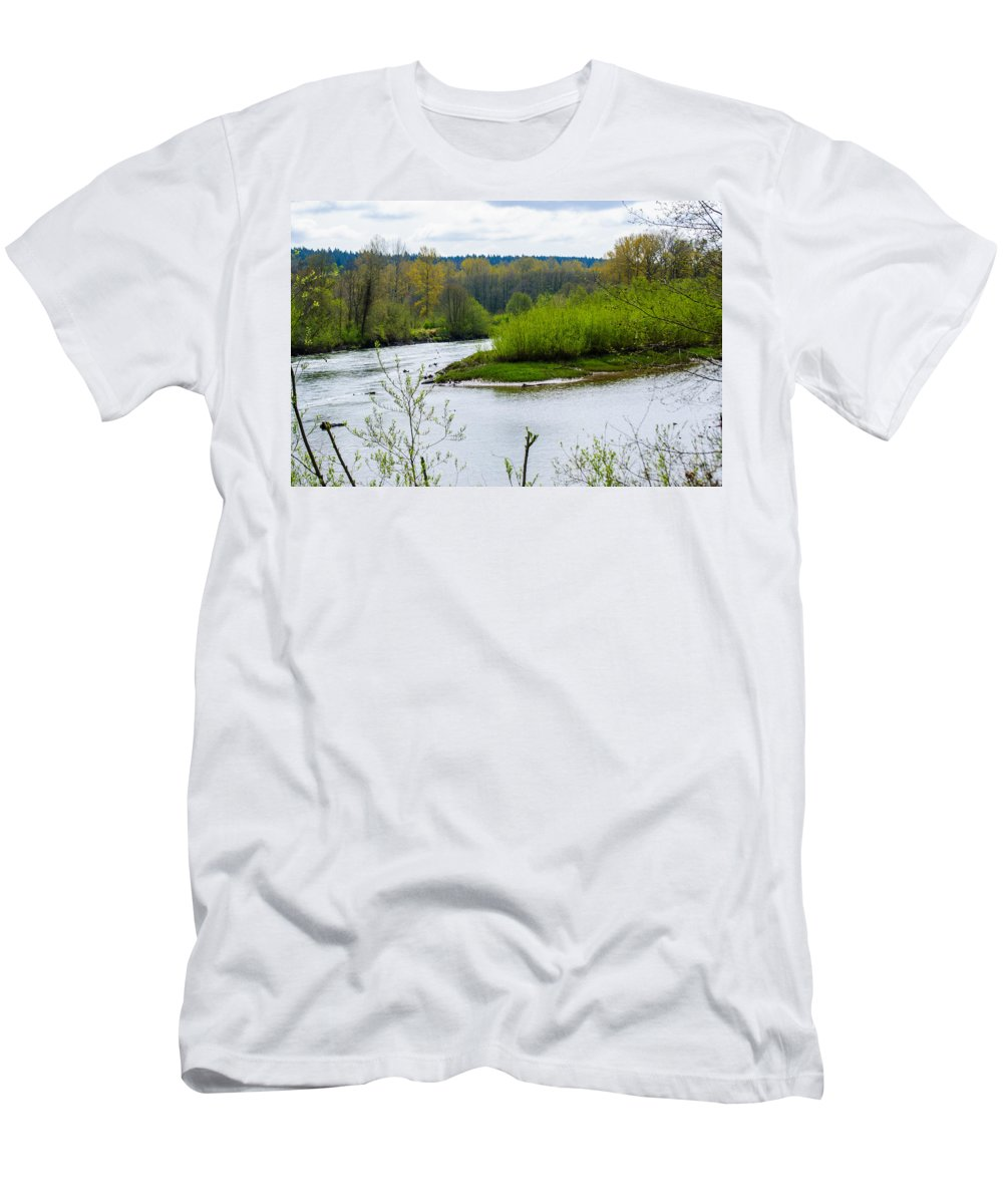 Nisqually National Wildlife Refuge Men's T-Shirt (Athletic Fit) featuring the photograph Nisqually River From The Nisqually National Wildlife Refuge by Tikvah's Hope