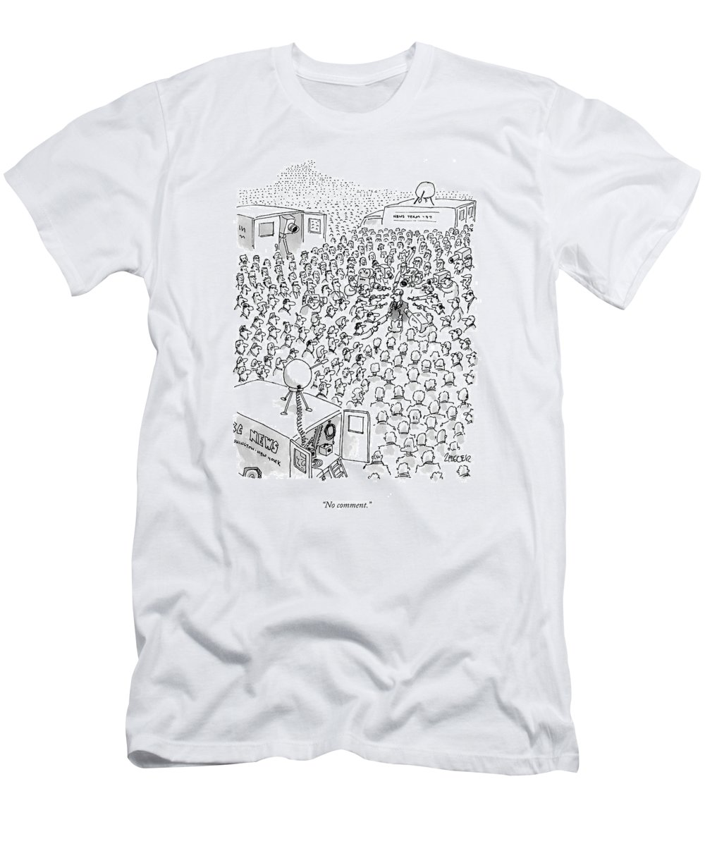 Television-news T-Shirt featuring the drawing No Comment by Jack Ziegler