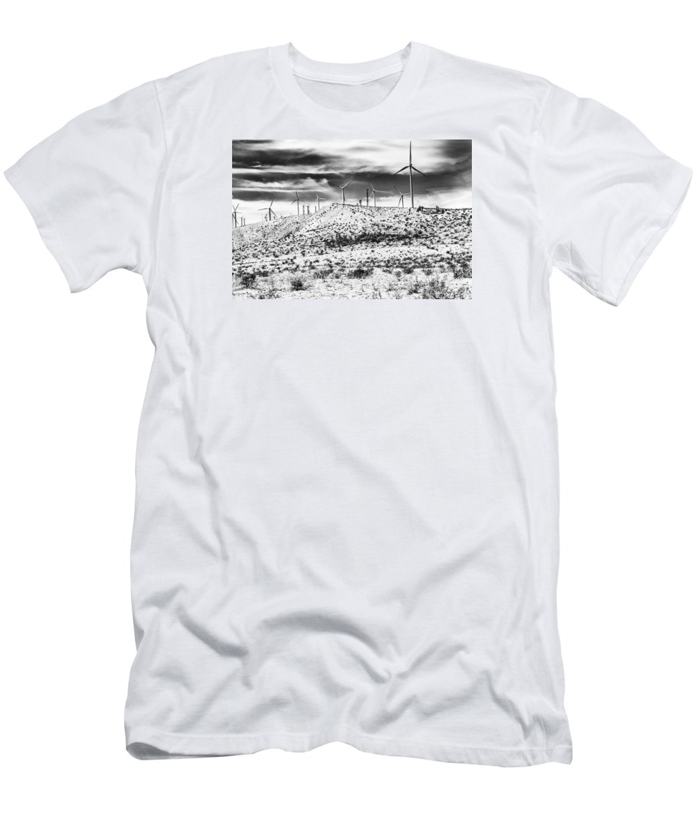 Black And White Men's T-Shirt (Athletic Fit) featuring the photograph No Place Like Home 1 Bw Palm Springs by William Dey