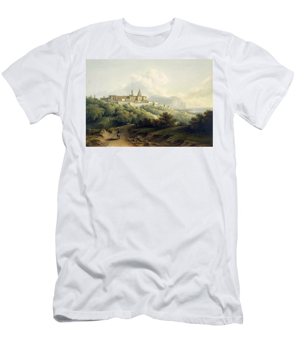 30 8x44 4cm Men's T-Shirt (Athletic Fit) featuring the painting No.2289 Chiesa Della Santa Casa by John Warwick Smith