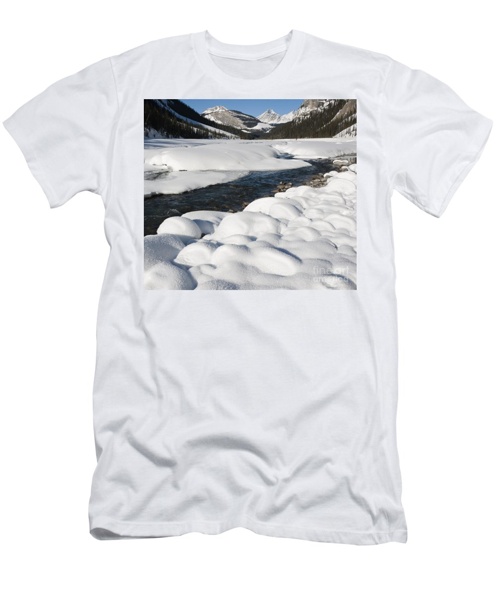 Nature Men's T-Shirt (Athletic Fit) featuring the photograph North Saskatchewan River In Winter by John Shaw