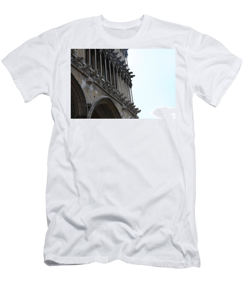 Facade T-Shirt featuring the photograph Notre Dame Gargoyle Row - Dijon by Christiane Schulze Art And Photography