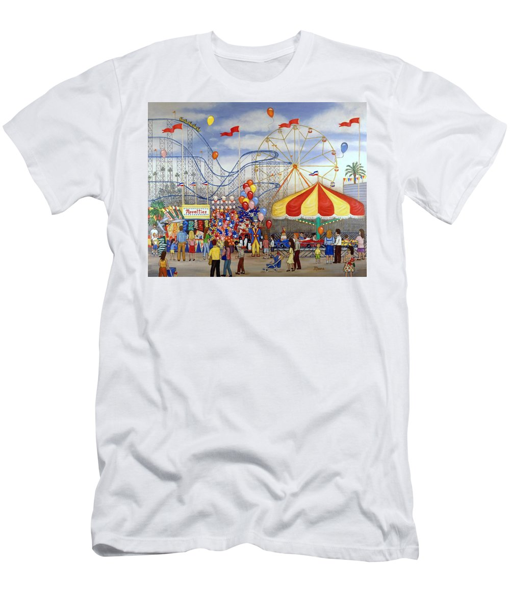 Carnival Men's T-Shirt (Athletic Fit) featuring the painting Novelties At The Carnival by Linda Mears