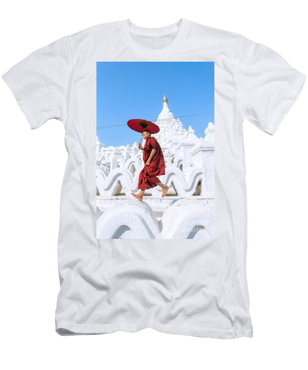 Day Men's T-Shirt (Athletic Fit) featuring the photograph Novice Monk Jumping On White Pagoda - Mandalay - Burma by Matteo Colombo