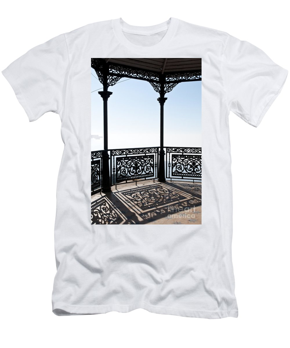 Wrought Iron Pavilion Men's T-Shirt (Athletic Fit) featuring the photograph Observation Point by Lana Enderle