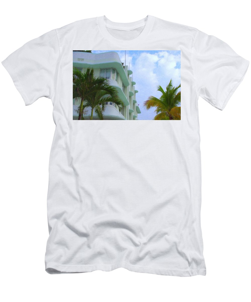 Art Deco Men's T-Shirt (Athletic Fit) featuring the photograph Ocean Drive Hotel by Tom Reynen