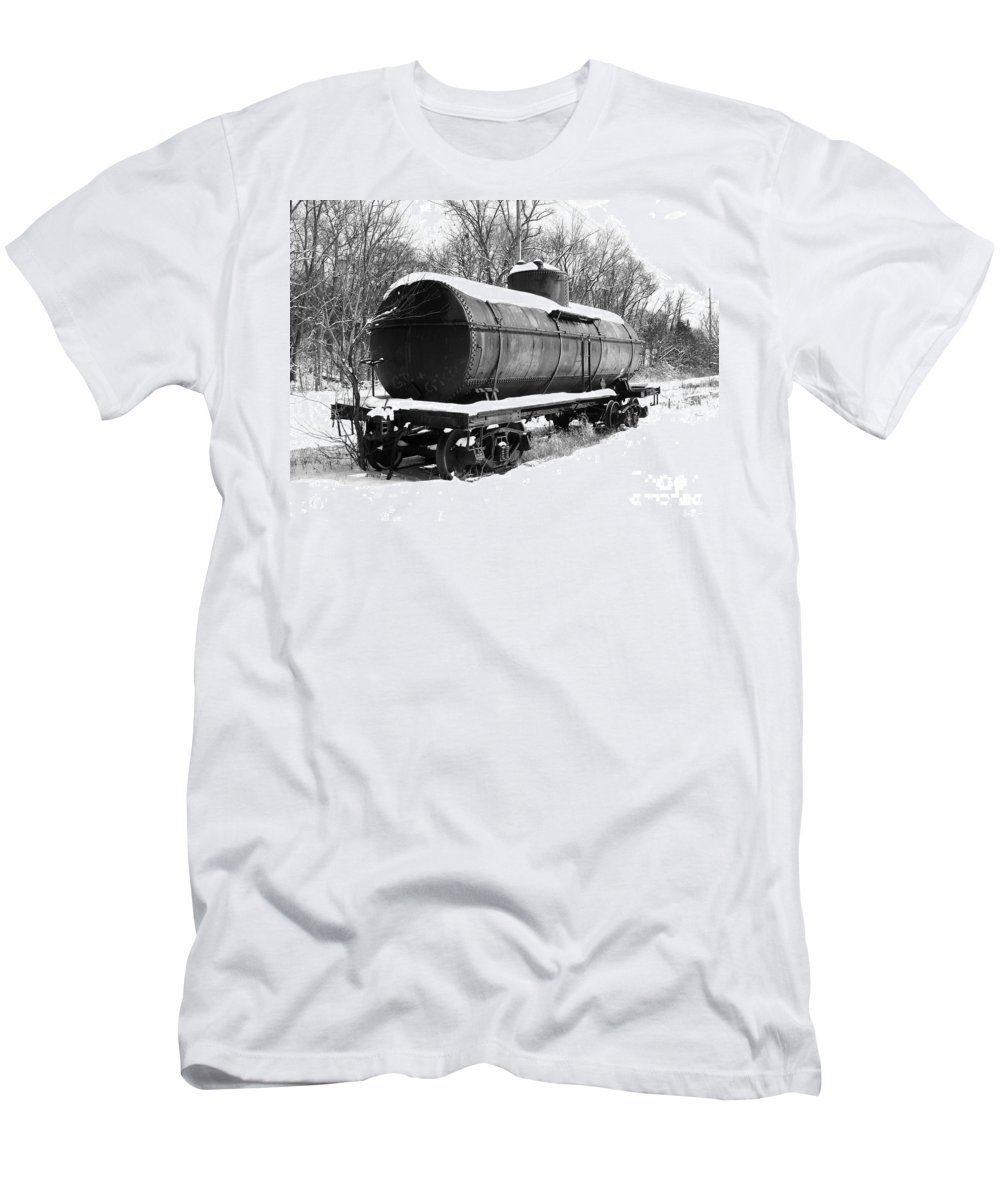 Train Men's T-Shirt (Athletic Fit) featuring the photograph Off The Beaten Track by Sara Raber