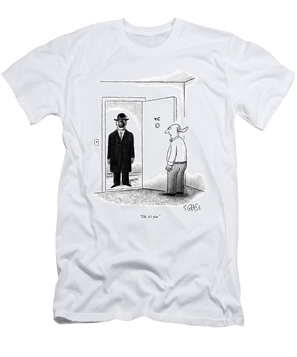 Art Men's T-Shirt (Athletic Fit) featuring the drawing Oh, It's You by Sam Gross