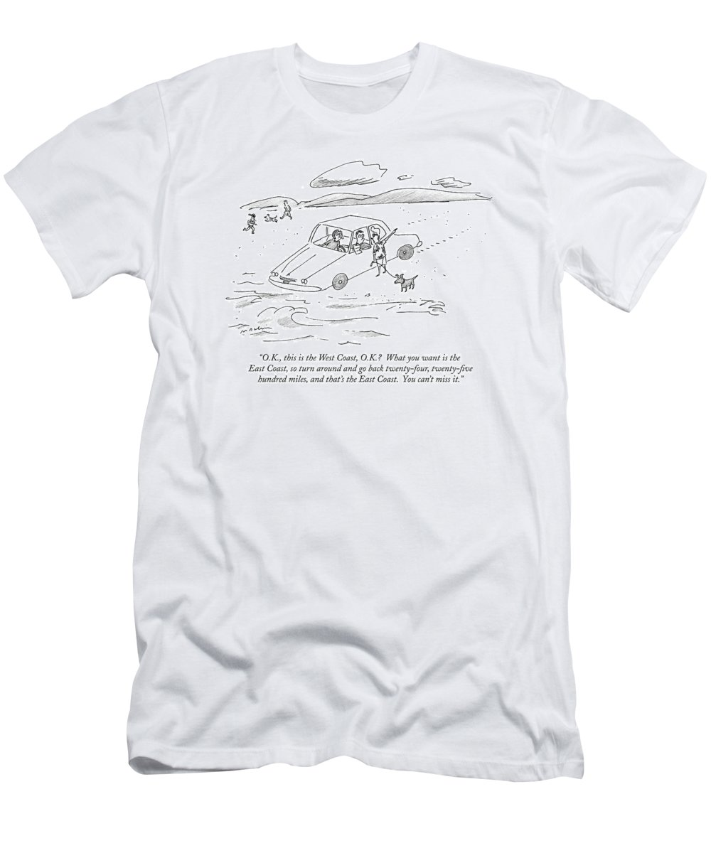 Swimming T-Shirt featuring the drawing O.k., This Is The West Coast, O.k.? What by Michael Maslin