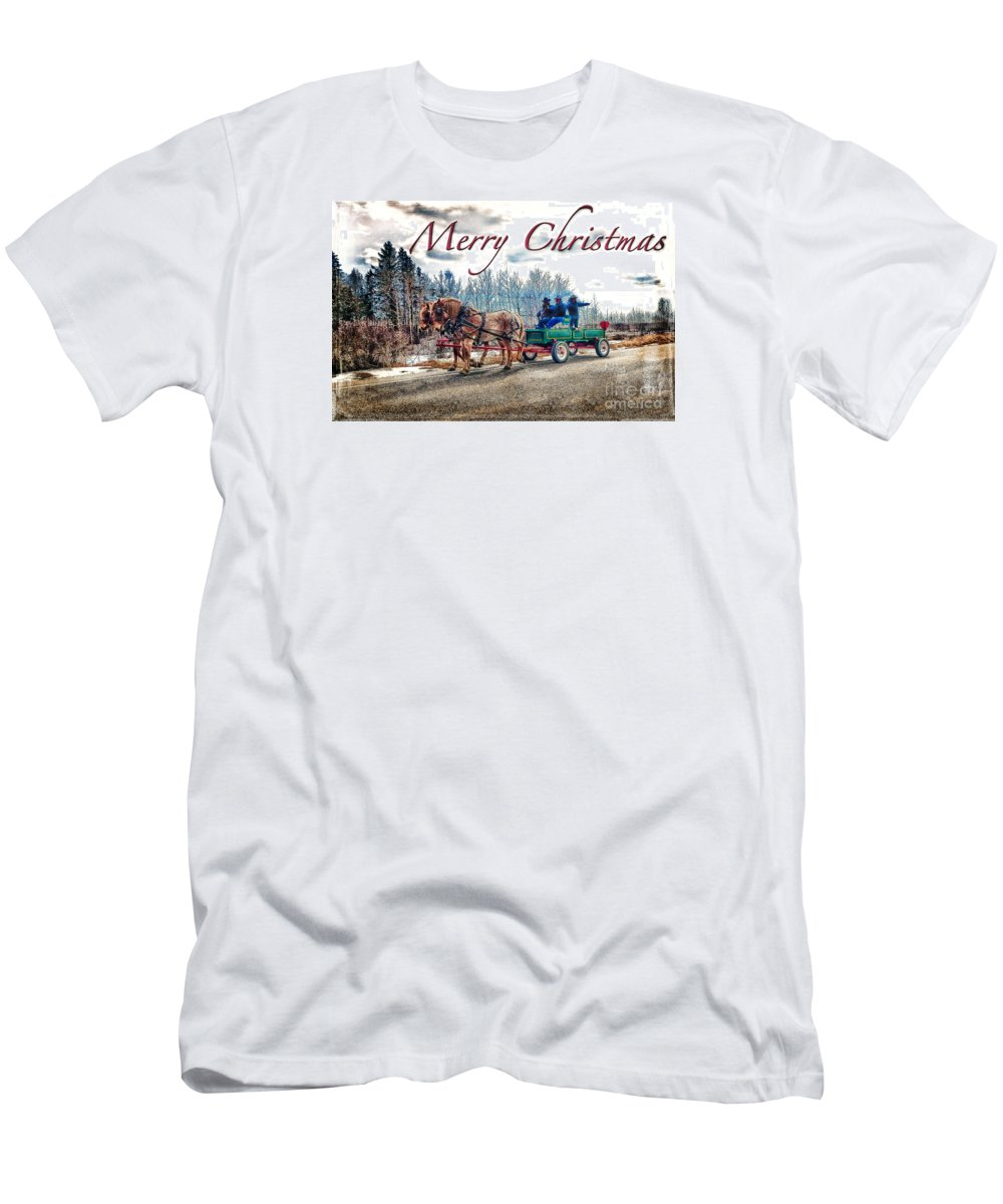 Horse Men's T-Shirt (Athletic Fit) featuring the digital art Old Fashion Merry Christmas by Lori Frostad
