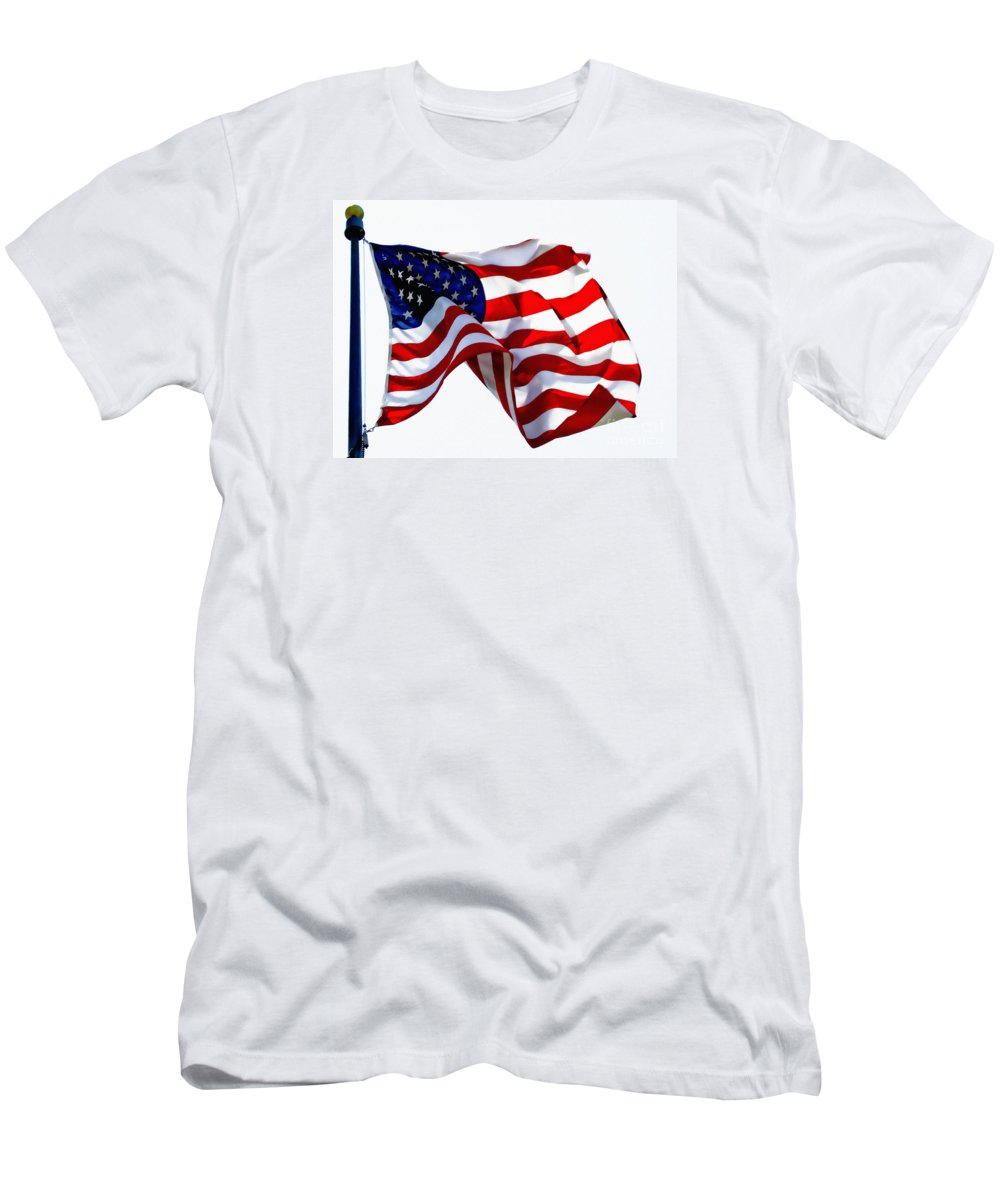 Flag Men's T-Shirt (Athletic Fit) featuring the photograph America The Beautiful Usa by Carol F Austin