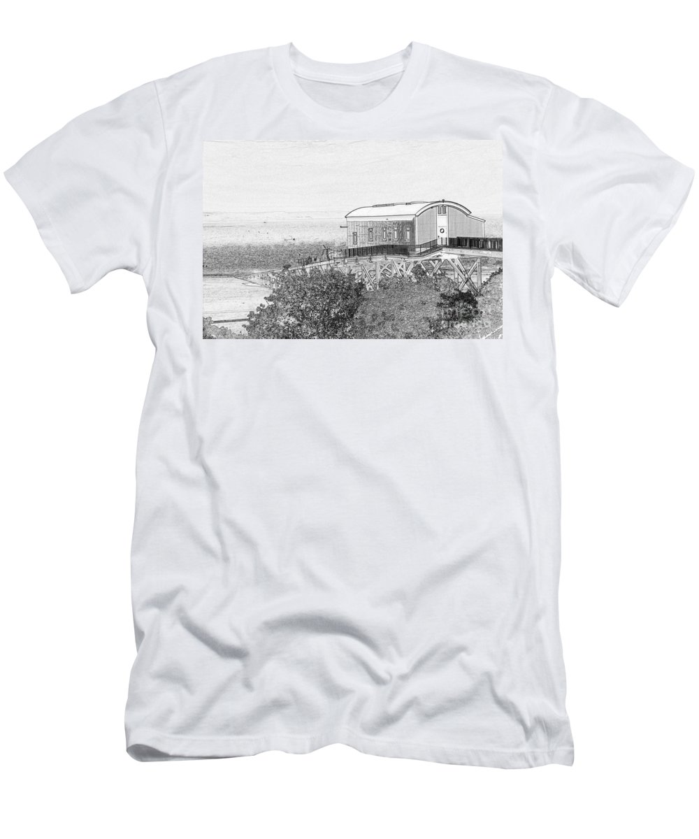 Tenby Men's T-Shirt (Athletic Fit) featuring the photograph Old Lifeboat Station Tenby by Steve Purnell