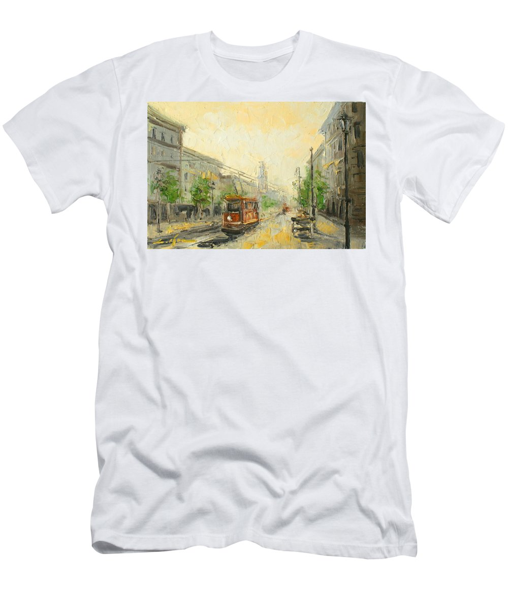 Poland Men's T-Shirt (Athletic Fit) featuring the painting Old Warsaw - Poland by Luke Karcz