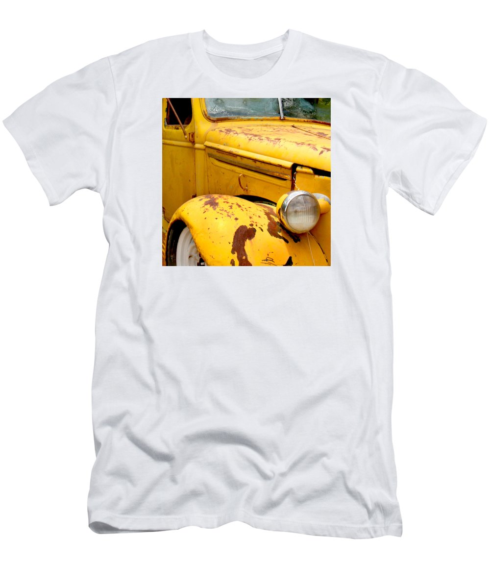Truck Men's T-Shirt (Athletic Fit) featuring the photograph Old Yellow Truck by Art Block Collections