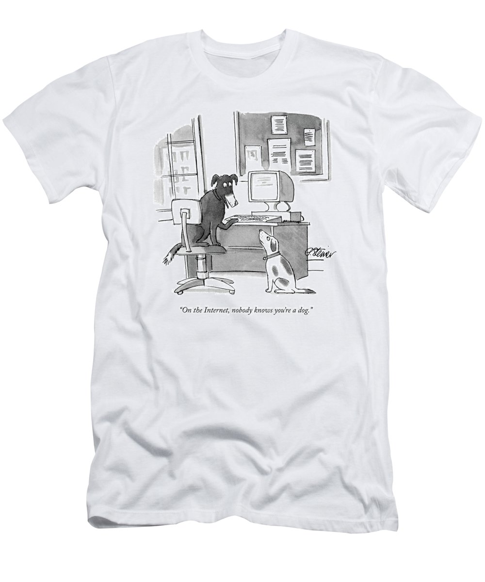 On The Internet Men's T-Shirt (Athletic Fit) featuring the drawing On The Internet by Peter Steiner