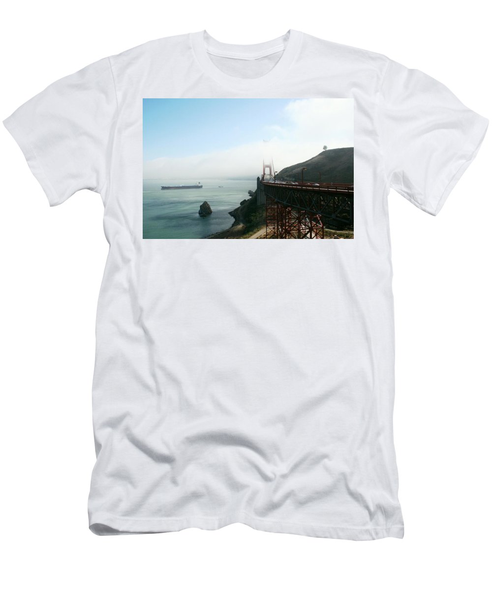Bridge Men's T-Shirt (Athletic Fit) featuring the photograph On The Way Back To San Francisco by Christiane Schulze Art And Photography