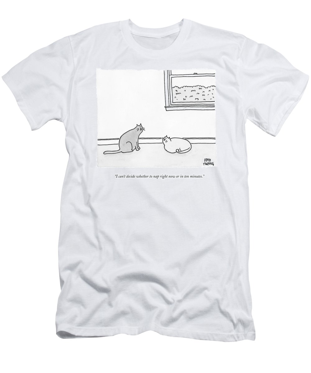 Naps T-Shirt featuring the drawing One Cat Speaks To Another Cat by Amy Hwang