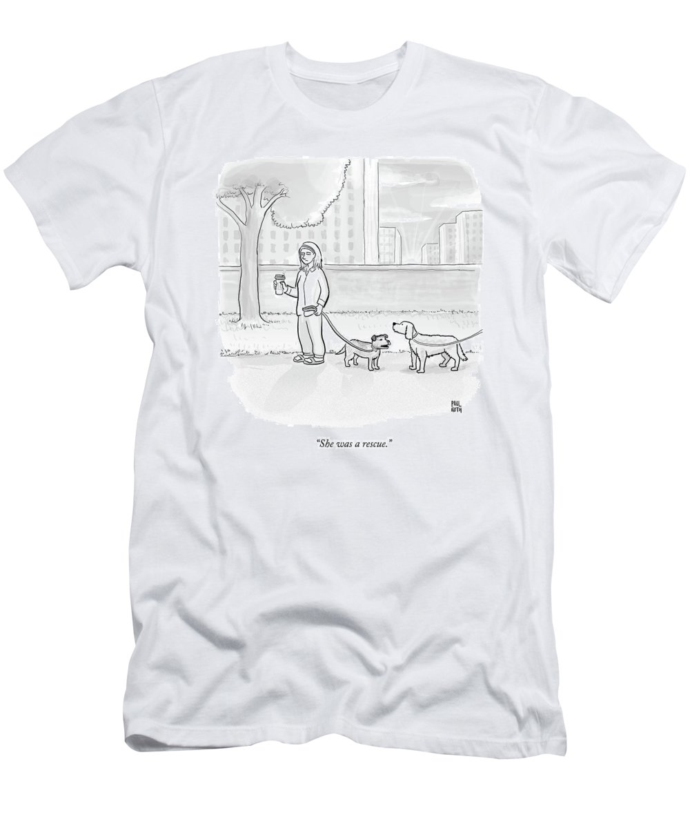Dogs Men's T-Shirt (Athletic Fit) featuring the drawing One Dog Talks To Another by Paul Noth