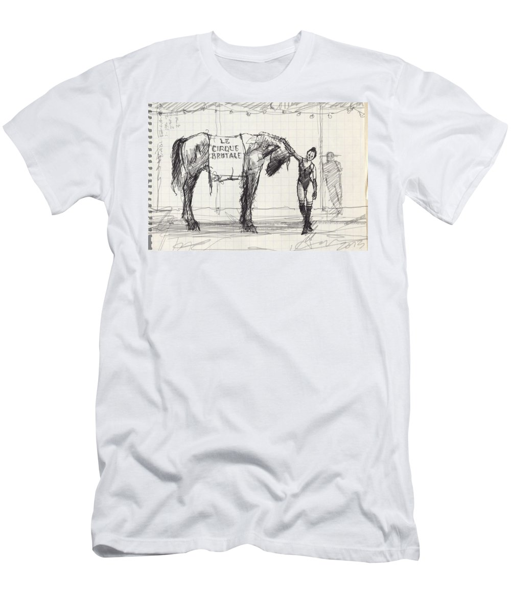 Horse Men's T-Shirt (Athletic Fit) featuring the drawing One by H James Hoff