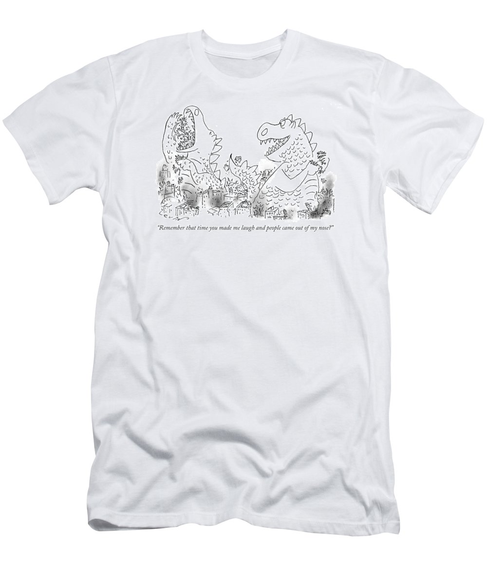 (one Monster Devouring A City T-Shirt featuring the drawing One Monster Devouring A City by Arnie Levin