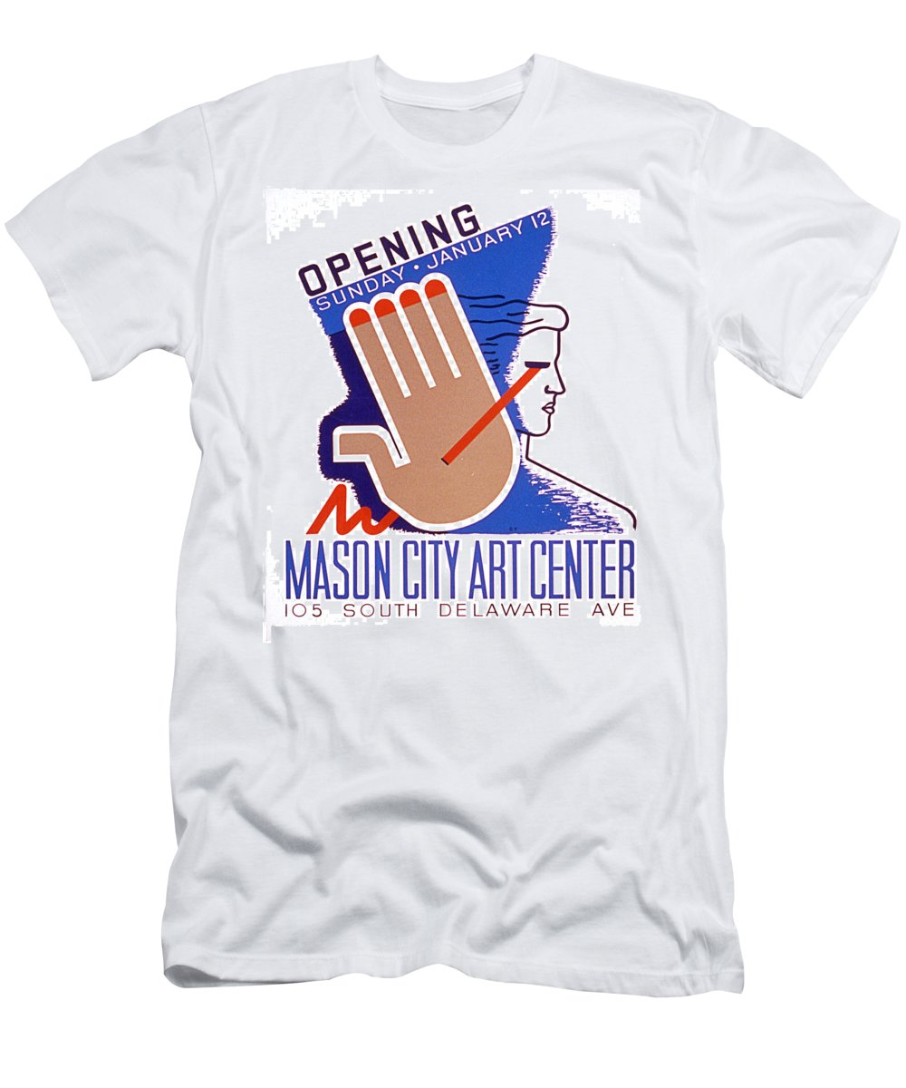 Wpa Works+project+administration Theatre Play The+arts Vintage 1930s 1940s Modern Contemporary Support+the+arts Men's T-Shirt (Athletic Fit) featuring the painting Opening Of Mason City Art Center Poster by Elaine Plesser