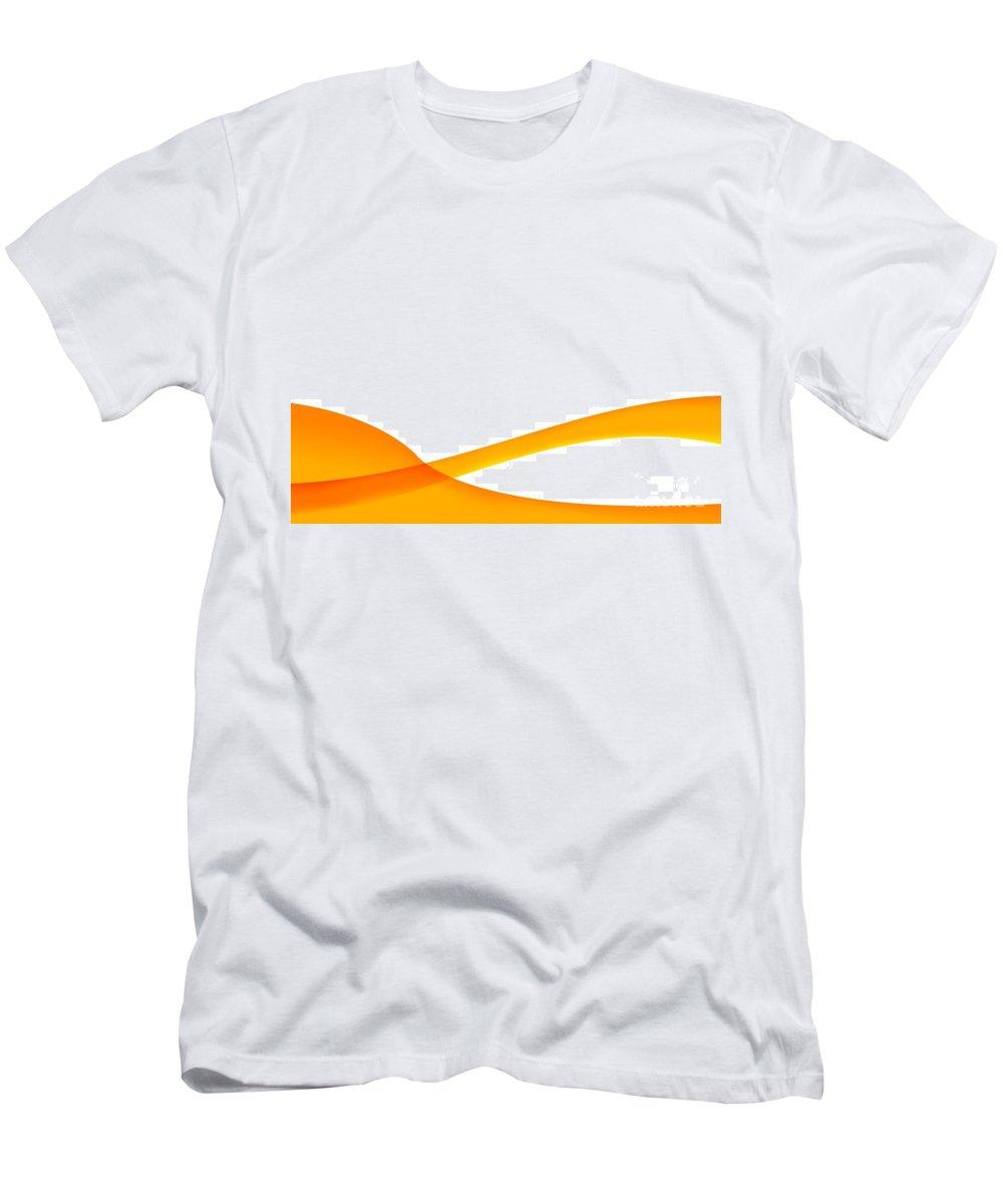 Orange Men's T-Shirt (Athletic Fit) featuring the digital art Orange Wave Background by Henrik Lehnerer