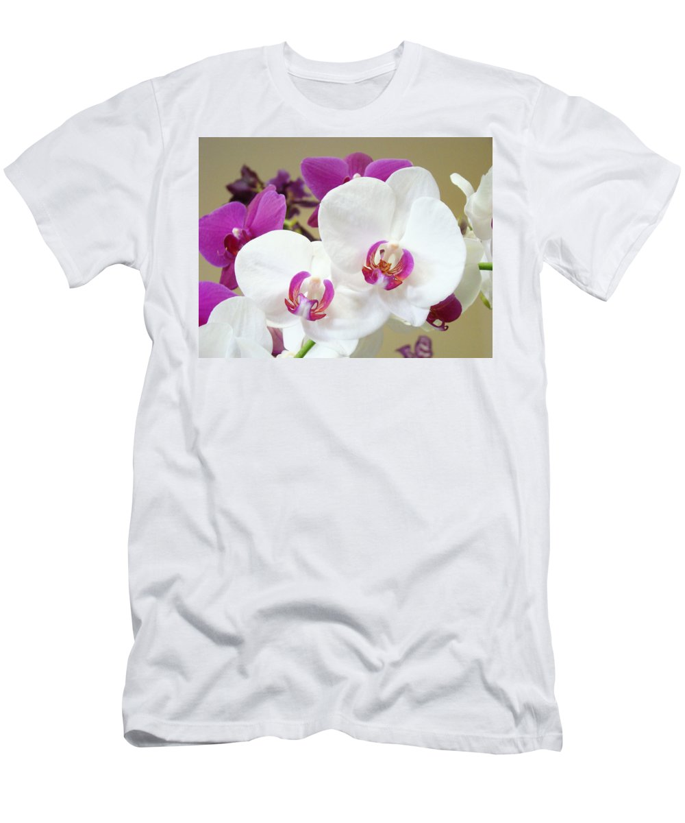 White Men's T-Shirt (Athletic Fit) featuring the photograph Orchids Floral Art Prints White Pink Orchid Flowers by Baslee Troutman
