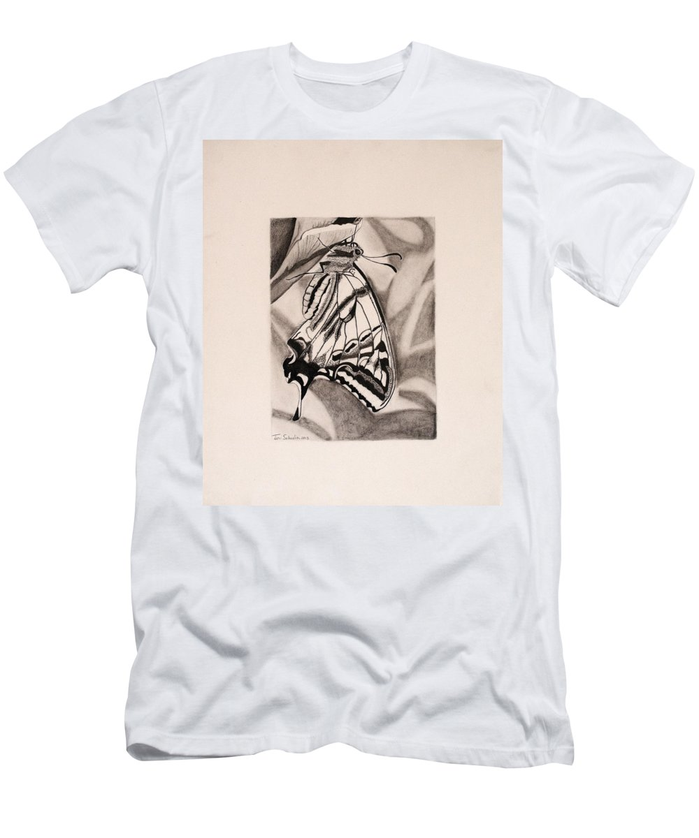 Butterfly Men's T-Shirt (Athletic Fit) featuring the drawing Oregon Swallowtail Butterfly by Teri Schuster