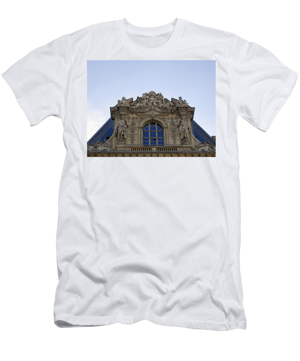 Paris Men's T-Shirt (Athletic Fit) featuring the photograph Ornate Architectural Artwork On The Musee Du Louvre Buildings In Paris France by Richard Rosenshein