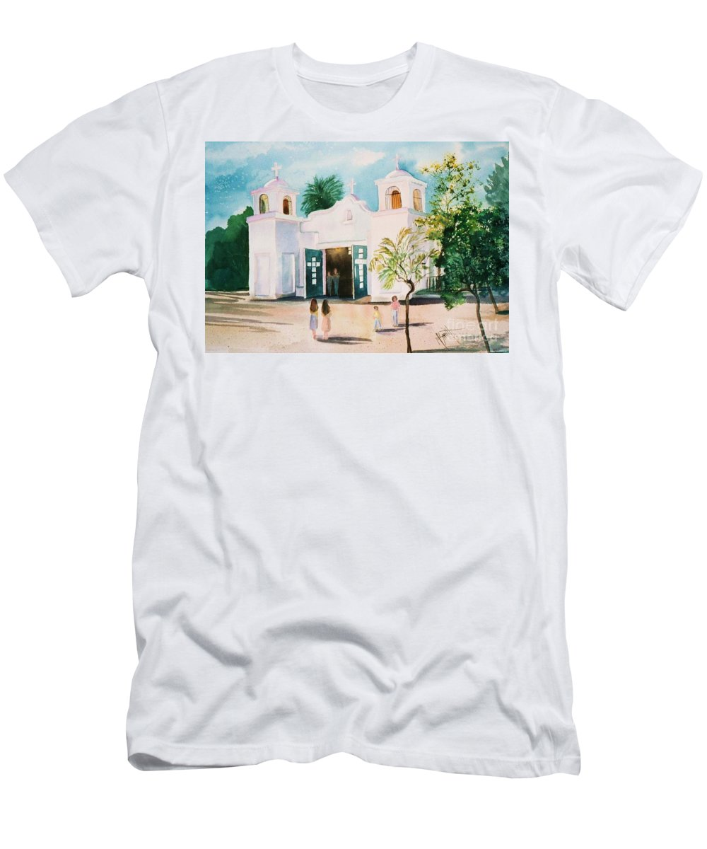 Mission Church Men's T-Shirt (Athletic Fit) featuring the painting Our Lady Of Guadalupe by Marilyn Smith
