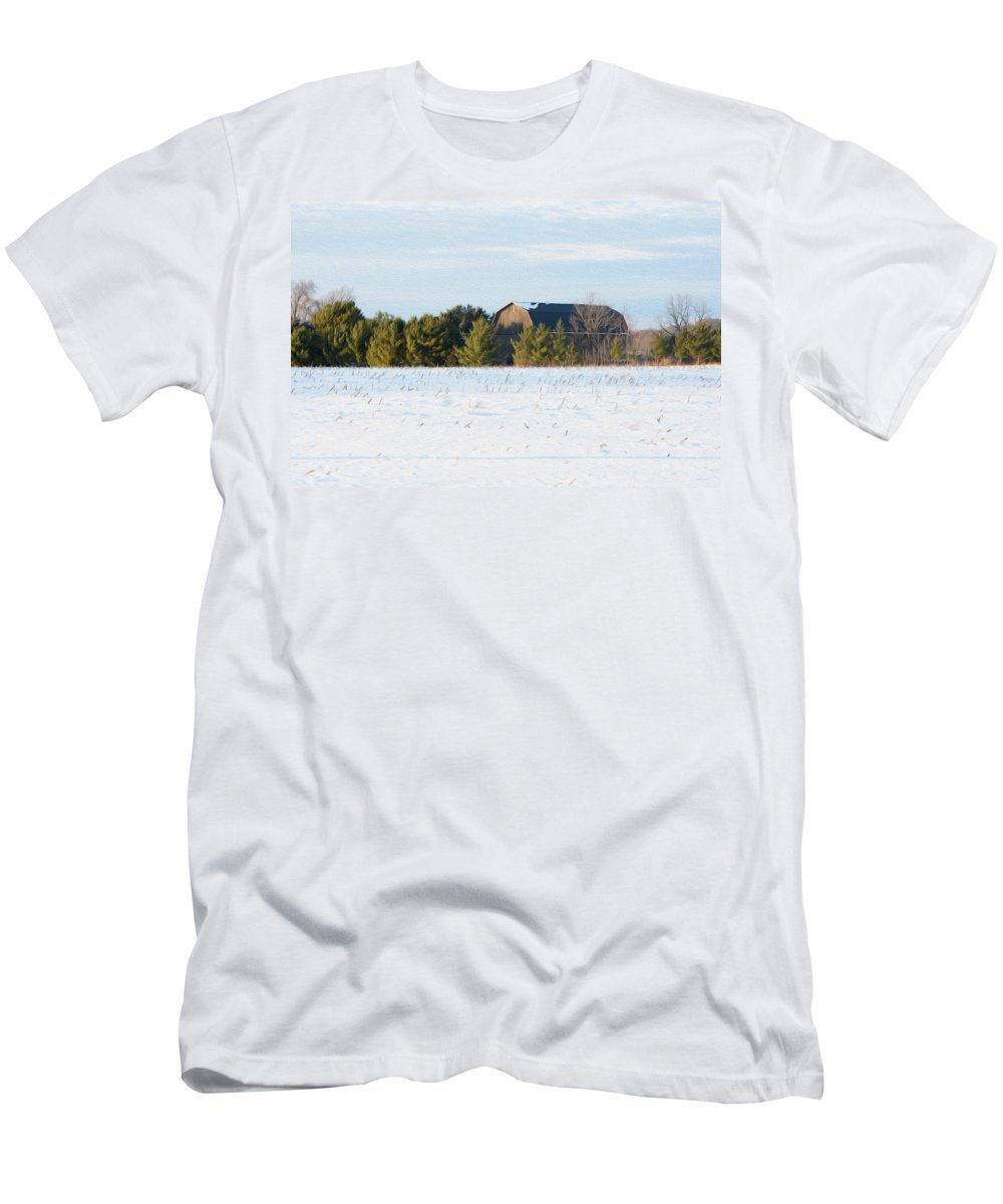 Barn Men's T-Shirt (Athletic Fit) featuring the photograph Out In The Snow by Tracy Winter