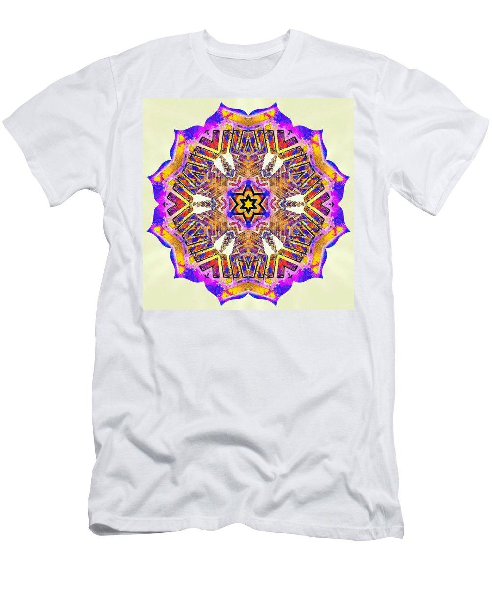 Sacredlife Mandalas Men's T-Shirt (Athletic Fit) featuring the painting Painted Lotus Xiv by Derek Gedney