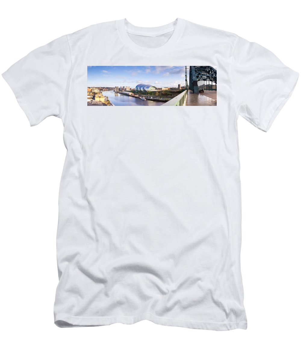 Arch Men's T-Shirt (Athletic Fit) featuring the photograph Panoramic Of Newcastle And Gateshead Quayside by David Head