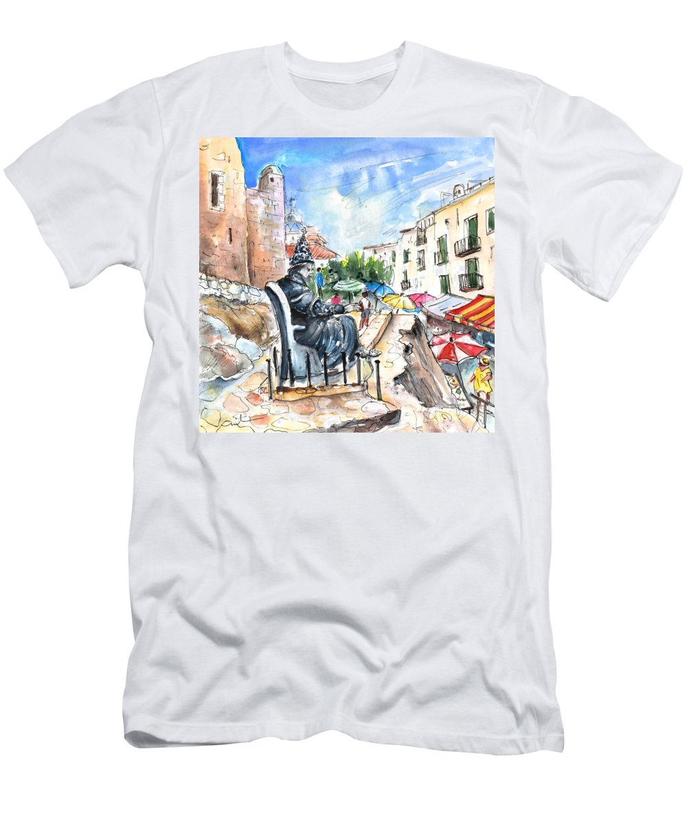 Travel Men's T-Shirt (Athletic Fit) featuring the painting Papa Luna In Peniscola by Miki De Goodaboom