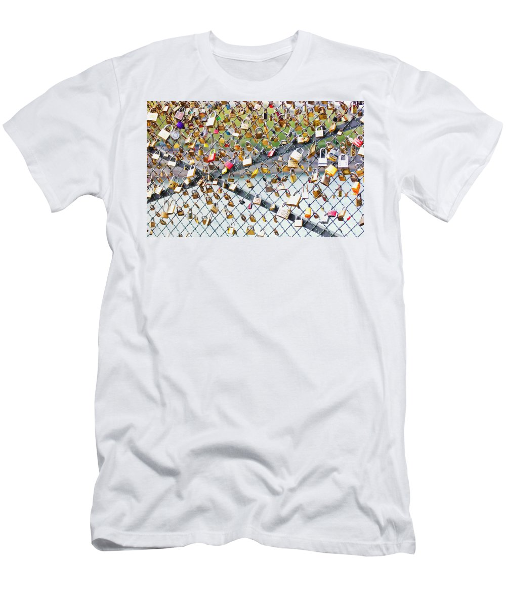 Love Men's T-Shirt (Athletic Fit) featuring the photograph Paris - Locks Of Love by Pati Photography