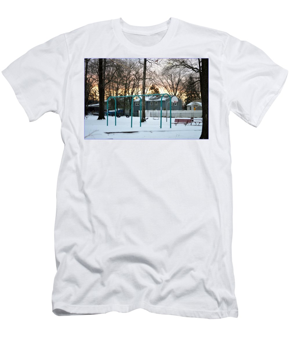 Greetings Men's T-Shirt (Athletic Fit) featuring the photograph Park In Winter by Sonali Gangane