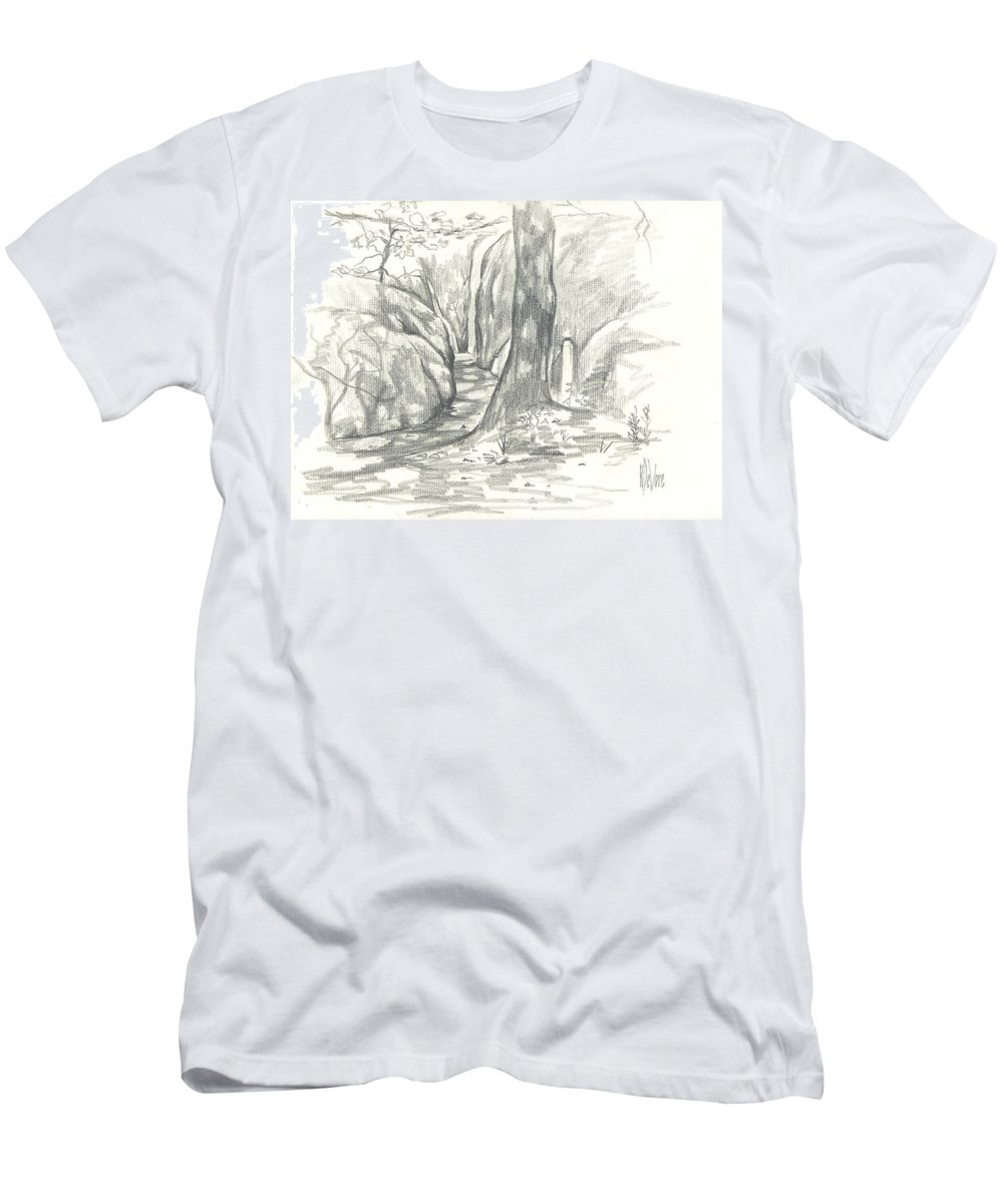 Passageway At Elephant Rocks Men's T-Shirt (Athletic Fit) featuring the drawing Passageway At Elephant Rocks by Kip DeVore