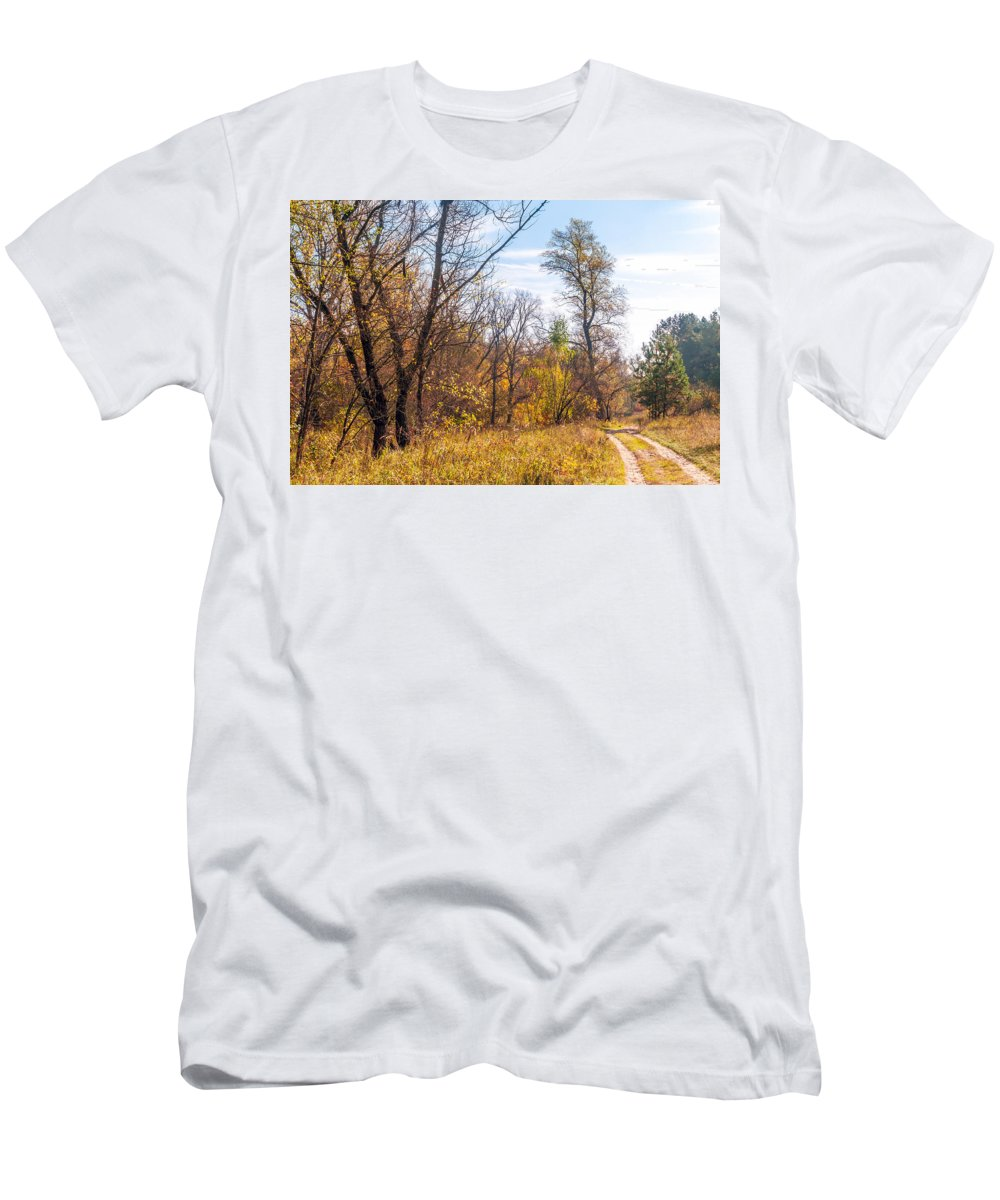 Autumn Men's T-Shirt (Athletic Fit) featuring the photograph Path In The Forest by Alain De Maximy